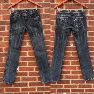 Express ReRock Straight Stretch Black Jeans